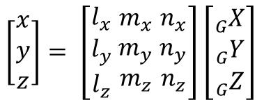 部材座標系から全体座標系への座標変換マトリクス