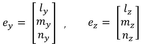部材座標yz軸の方向余弦