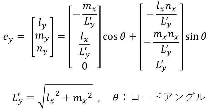 部材座標系y軸の全体座標軸に対する方向余弦